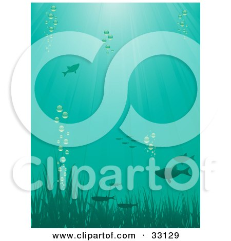 Clipart Illustration of Fish Swimming Above Grasses With Bubbles, Underwater, With Rays Of Sunshine Beaming Down From The Surface by elaineitalia
