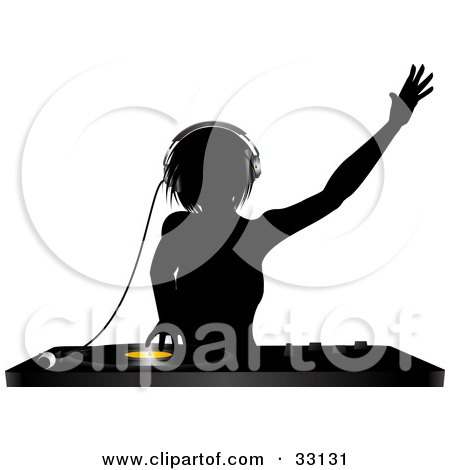 Clipart Illustration of a Silhouetted Female DJ Holding Her Arm Up In The Air, Wearing Headphones And Mixing A Record by elaineitalia