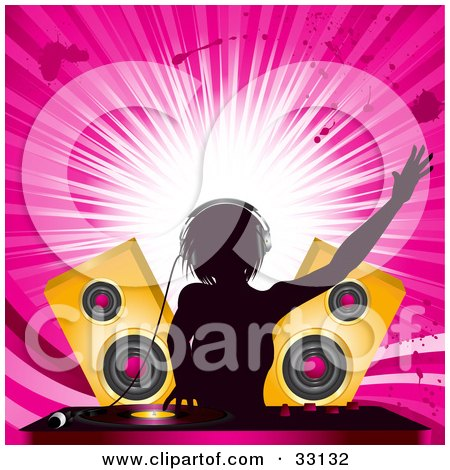 Clipart Illustration of a Female DJ Mixing Records In Front Of Golden Speakers, Silhouetted Against A Bursting Pink Grunge Background by elaineitalia