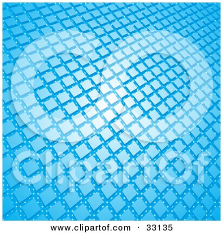 Clipart Illustration of a Background Of Blue Squares On A Blue Background With White Dots by elaineitalia