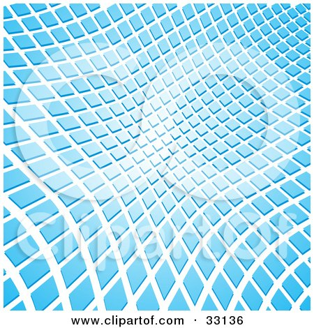 Clipart Illustration of a Wavy Background Of Blue Rectangles On White by elaineitalia