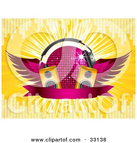 Clipart Illustration of a Winged Purple Disco Ball With Headphones, Speakers And A Banner, On A Yellow Bursting Background With Equalizer Bars by elaineitalia