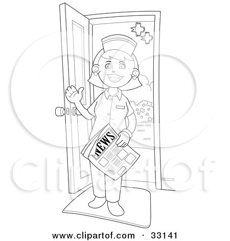 Friendly Female Nurse Holding A Newspaper And Waving While Standing In Doorway