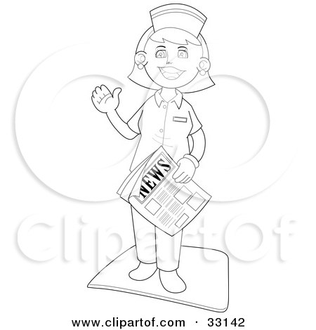 Waving Female Nurse Standing On A Mat And Carrying Newspaper