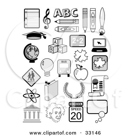 Set Of Educational Icons Including Music Notes, The Abcs, Globe, Albertin Einstein, Molecules And School Supplies Posters, Art Prints