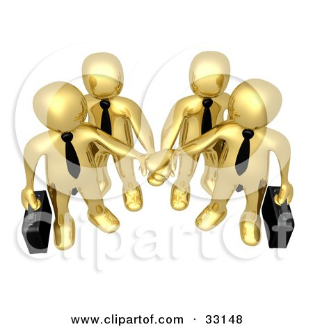 Clipart Illustration of Four Gold Business People Carrying Briefcases And Standing With Their Hands Piled, Symbolizing Teamwork, Cooperation, Support, Unity And Goals by 3poD