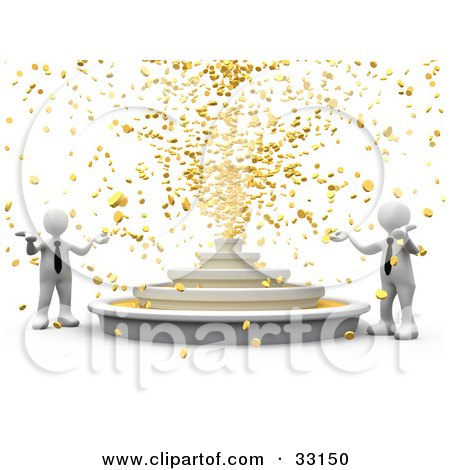 Two White 3d Business People Holding Their Around Out While A Fountain Shoots Out Gold Coins Posters, Art Prints