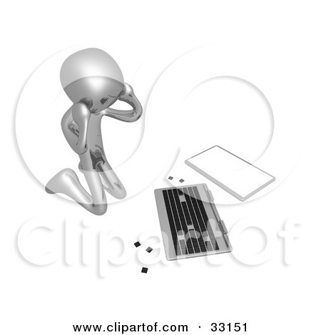 Clipart Illustration of a 3d Stressed Out Silver Person Kneeling Before A Broken Laptop Computer by 3poD