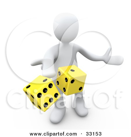 Clipart Illustration of a 3d White Person Tossing Up A Pair Of Yellow Dice, Symbolizing Chance And Risk by 3poD