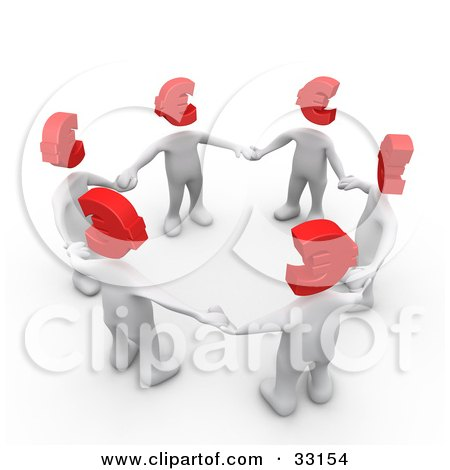 Clipart Illustration of a Group Of 3d White People With Red Euro Heads, Standing In A Circle And Holding Hands by 3poD