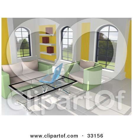 Clipart Illustration of a 3d Home Interior With Green And Beige Furniture, Windows, A Book Shelf, Tile Flooring And A Laptop On A Coffee Table by 3poD