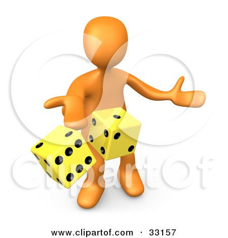 Clipart Illustration of a 3d Orange Person Tossing Up A Pair Of Yellow Dice, Symbolizing Chance And Risk by 3poD