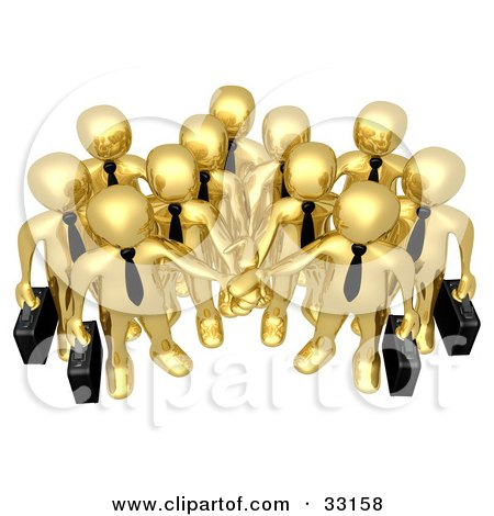 Clipart Illustration of a Group Of Gold Business People Carrying Briefcases And Standing With Their Hands Piled, Symbolizing Teamwork, Cooperation, Support, Unity And Goals by 3poD