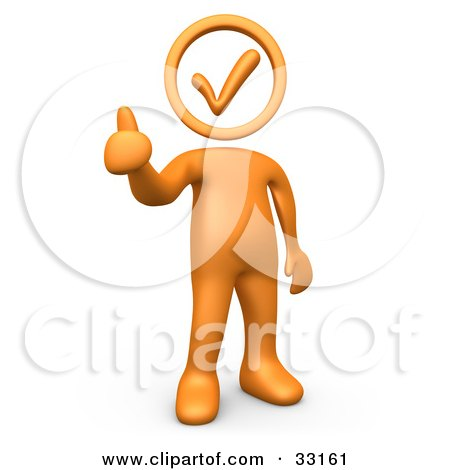 Clipart Illustration of an Orange Person Holding With A Check Mark Head, Giving The Thumbs Up by 3poD