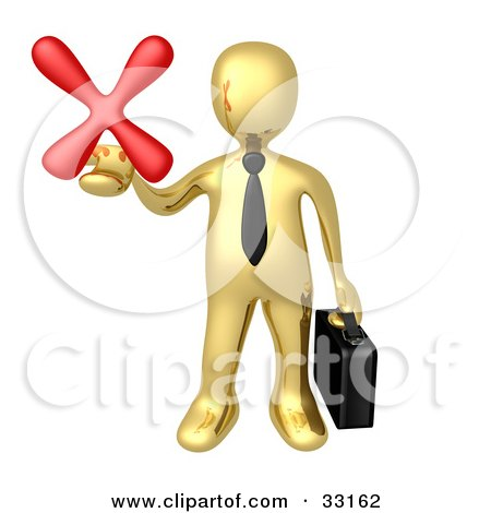 Clipart Illustration of a Gold Businessman Carrying A Briefcase And Holding Out A Red X Mark In His Hand, Symbolizing Denial And Failure by 3poD