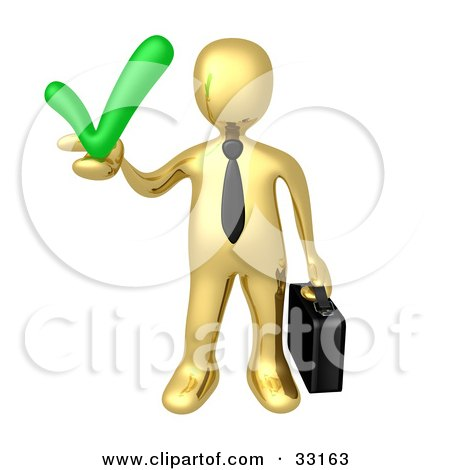 Clipart Illustration of a Gold Business Man Carrying A Briefcase And Holding A Green Check Mark, Symbolizing Solutions And Approval by 3poD