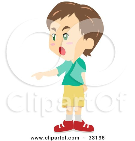 Clipart Illustration of a Brunette Boy Shouting And Pointing To The Left by PlatyPlus Art