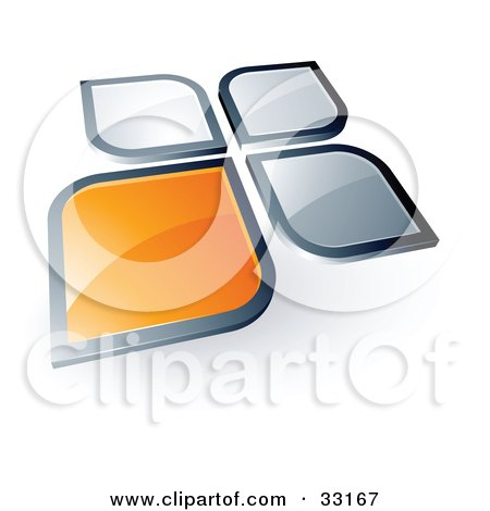 Pre-Made Logo Of An Orange Square Or Petal Standing Out From Gray Ones Posters, Art Prints