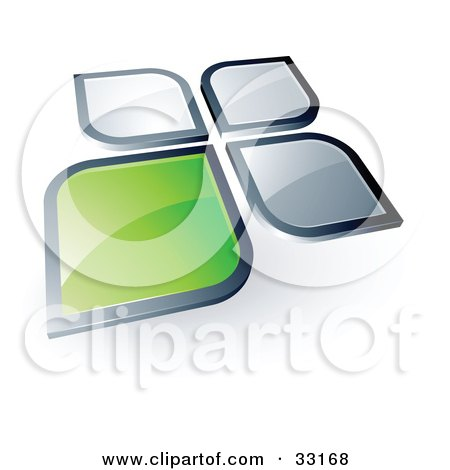 Clipart Illustration of a Pre-Made Logo Of A Green Square Or Petal Standing Out From Gray Ones by beboy
