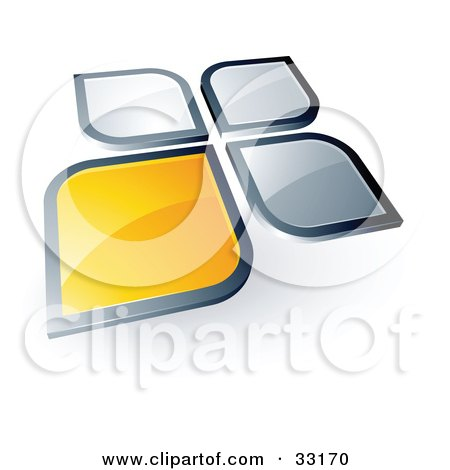 Clipart Illustration of a Pre-Made Logo Of A Yellow Square Or Petal Standing Out From Gray Ones by beboy