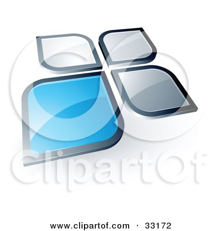 Pre-Made Logo Of A Blue Square Or Petal Standing Out From Gray Ones Posters, Art Prints