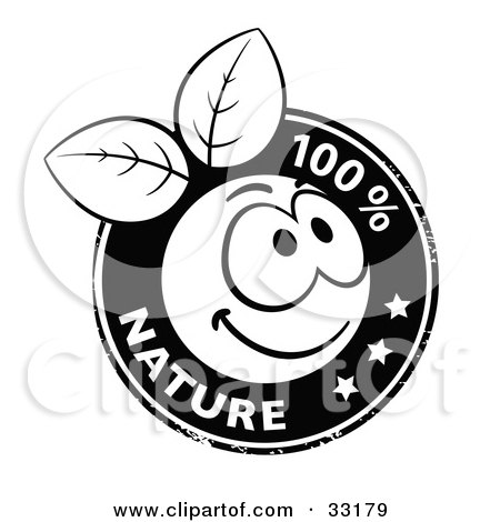 Clipart Illustration of a Black And White Organic Smiley Ball With Leaves Stamp And 100 Percent Nature Text And Stars by beboy