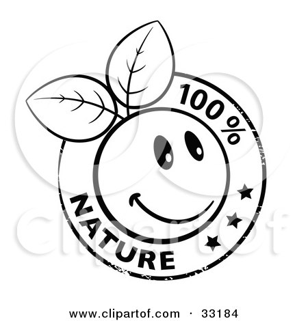 Clipart Illustration of a Black And White Organic Smiley Ball With Leaves Stamp And 100 Percent Nature Text by beboy