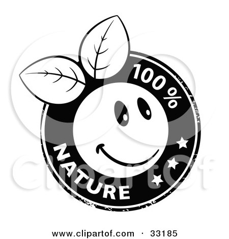 Clipart Illustration of a Black And White Stamp Of An Organic Smiley Ball With Leaves, Stars, And 100 Percent Nature Text by beboy