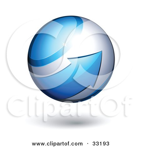 Clipart Illustration of a Silver 3d Sphere Circled By A Blue Arrow by beboy