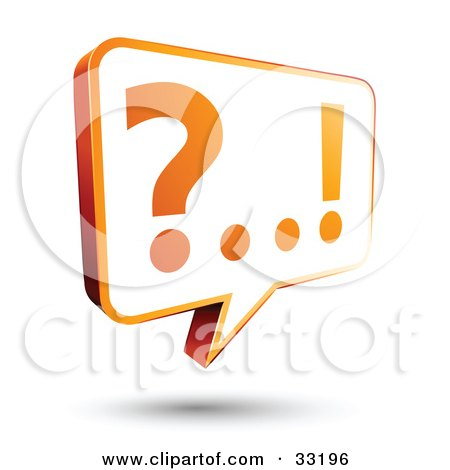 Clipart Illustration of a White And Orange Instant Messenger Chat Window With A Question Mark And Exclamation Point On The Screen by beboy