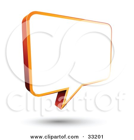 Clipart Illustration of a Blank White Instant Messenger Chat Window Bordered In Orange by beboy