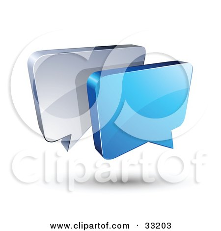 Clipart Illustration of Blue And Silver Instant Messenger Boxes Communicating by beboy