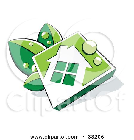 Clipart Illustration of a White And Green Diamond House Icon With Dew Drops, Resting On Leaves by beboy