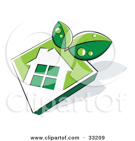 Clipart Illustration of Two Green Leaves Wet With Dew, Over A White House Icon On A Green Diamond by beboy