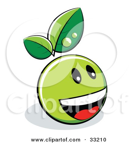Clipart Illustration of a Green Organic Smiley Ball With Leaves, Laughing by beboy