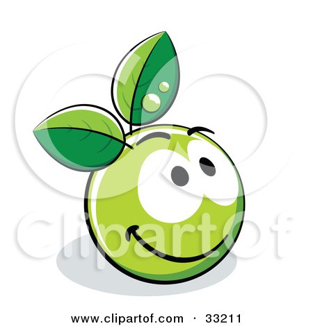 Clipart Illustration of a Friendly Smiling Green Organic Smiley Ball With Leaves by beboy