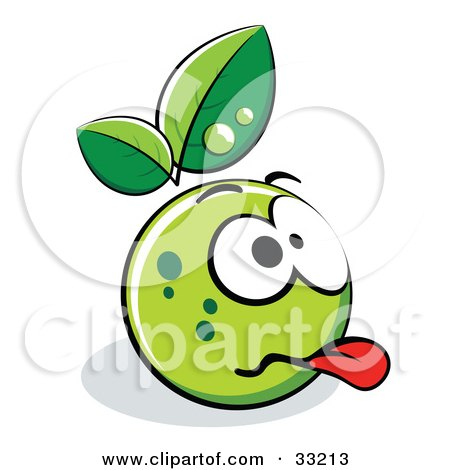 Clipart Illustration of a Grossed Out Green Organic Smiley Ball With Leaves by beboy