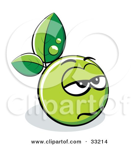 Clipart Illustration of a Gloomy Green Organic Smiley Ball With Leaves by beboy
