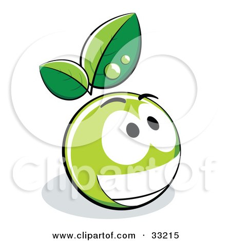 Clipart Illustration of a Grinning Green Organic Smiley Ball With Leaves by beboy