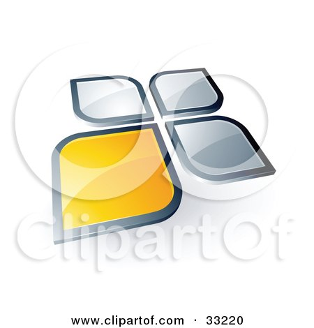 Clipart Illustration of One Yellow Petal Standing Out From Three Silver Petals by beboy