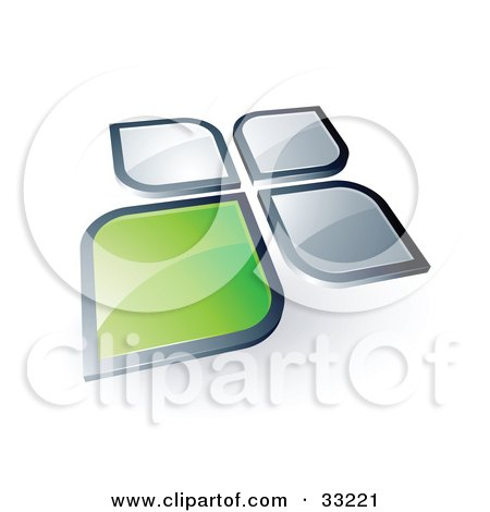 Clipart Illustration of One Green Petal Standing Out From Three Silver Petals by beboy
