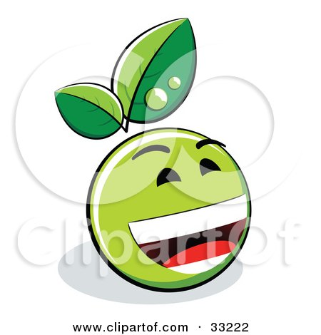 Clipart Illustration of a Laughing Green Organic Smiley Ball With Leaves by beboy
