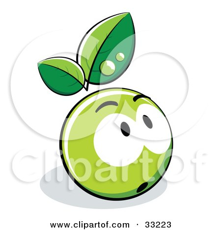 Clipart Illustration of a Nervous Green Organic Smiley Ball With Leaves by beboy