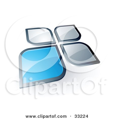Clipart Illustration of One Blue Petal Standing Out From Three Silver Petals by beboy
