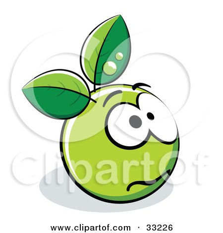 Clipart Illustration of an Anxious Green Organic Smiley Ball With Leaves by beboy