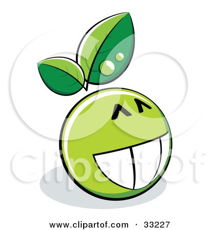 Clipart Illustration of a Proud Grinning Green Organic Smiley Ball With Leaves by beboy