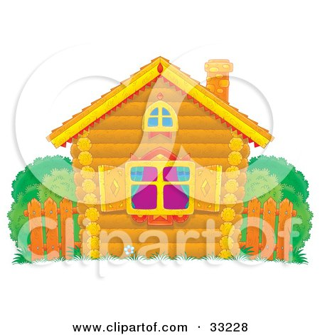 Clipart Illustration of a Small Log Home With Diamond Shutters, A Wooden Fence And Bushes In The Yard by Alex Bannykh