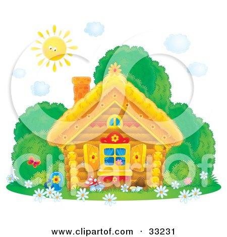 Clipart Illustration of a Sun Shining Down On A Log House With Butterflies, Bushes And Flowers In The Yard And Flower Shutters by Alex Bannykh