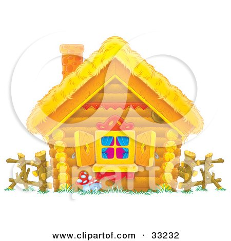 Clipart Illustration of a Log Home With A Straw Roof, Log Fence And Open Shutters by Alex Bannykh