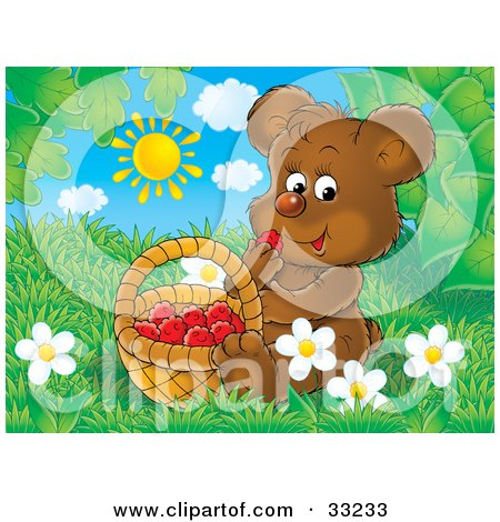 Clipart Illustration of a Cute Brown Bear Cub Sitting In Grass And Snacking On Raspberries by Alex Bannykh